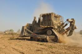 الاحتلال يجرف مساحات واسعة من اراضي بورين جنوب نابلس
