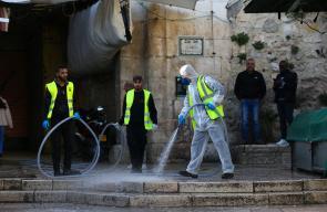 مجموعة من المتطوعين يُعقََمون أحياء البلدة القديمة في القدس المحتلة للوقاية من كورونا
