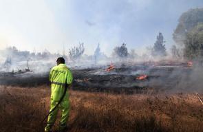 عشرات الحرائق بفعل البالونات تشتعل في منطقة غلاف غزة