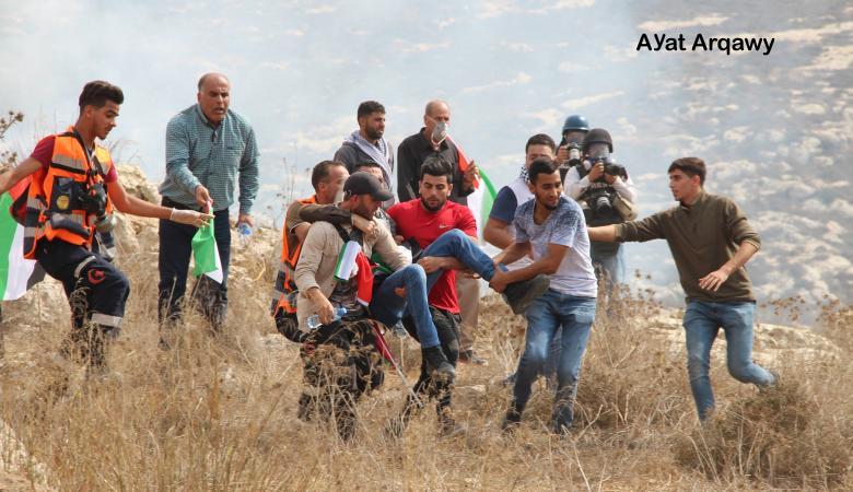 الاحتلال يقمع مسيرة سلمية منددة بالاستيطان شمال رام الله