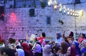 جانب من اضاءة زينو العيد في حارة القريون بمدينة نابلس