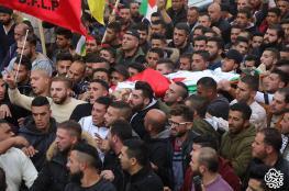 """اهالي نابلس يشيعون جثمان الشهيد """" خالد التايه """" واعلان حالة الحداد"""