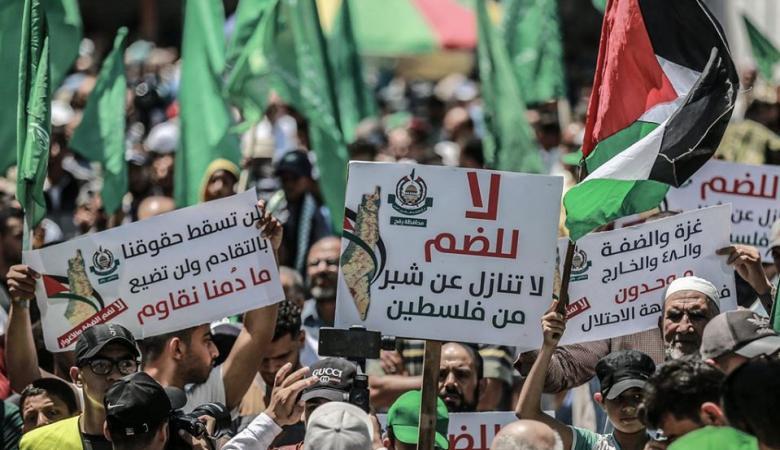 حماس تنظّم مسيرة حاشدة في رفح رفضا لمخطّط الضم