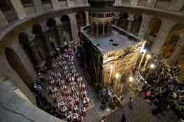 """افتتاح قبر المسيح بالقدس بعد اعادة ترميمه بقيمة """"4"""" ملايين دولار"""