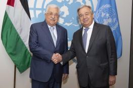 امين عام الامم المتحدة يتصل بالرئيس عباس