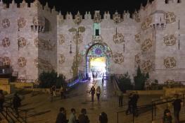 """إضاءة جدران القدس القديمة بإيحاءات تلمودية استعداداً لـ""""الأنوار"""" العبري """"صور """""""