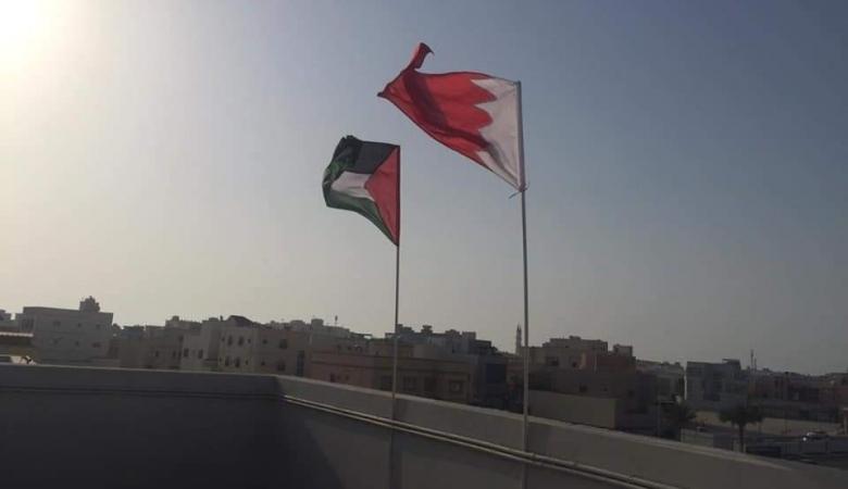 """شاهد ..بحرينون يرفعون علم فلسطين رفضاً لورشة """"المنامة """""""