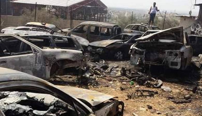 إخماد حريق بتجمع للمركبات والقطع بنعلين غرب رام الله