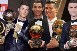 رونالدو يفوز بجائزة الكرة الذهبية للمرة الخامسة في تاريخه
