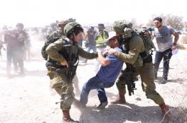 """قمع مسيرة سلمية رافضة لضم الاراضي الفلسطينية """"لاسرائيل """""""