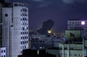 طيران الاحتلال يدمر بناية غرب مدينة غزة