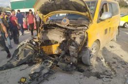 طولكرم : اصابة 10 مواطنين في حادث سير مروع