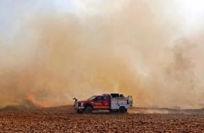 استمرار الحرائق في مستوطنات غلاف غزة جراء اطلاق بلالين من القطاع