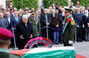 مراسم تشييع جثمان القيادي في فتح احمد عبد الرحمن في مقر الرئاسة برام الله