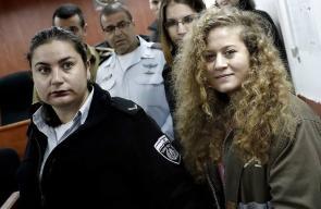 الأسيرة عهد التميمي اثناء حضورها للمحكمة العسكرية الاحتلال في عوفر صباح اليوم