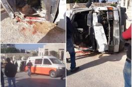 مصرع مواطنة واصابة آخرين في حادث سير ذاتي غرب الخليل