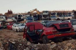 الشرطة تتلف 258 مركبة غير قانونية في بلدة سعير بالخليل