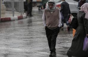اجواء الشتاء والمطر في مدينة رام الله وسط الضفة الغربية