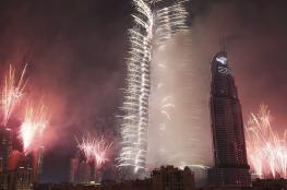 دبي تحتفل بالعام الجديد بالعاب نارية ضخمة ..شاهد