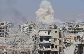 دمار هائل في مخيم اليرموك للاجئيين الفلسطينيين