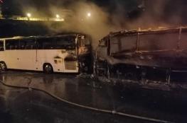 حريق يلتهم حافلتين اثناء توقفهما أمام احد الفنادق في بيت لحم