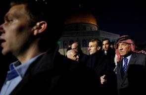 الرئيس الفرنسي يزور المسجد الأقصى المبارك