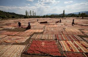 جانب من صناعة السجاد اليدوي في تركيا