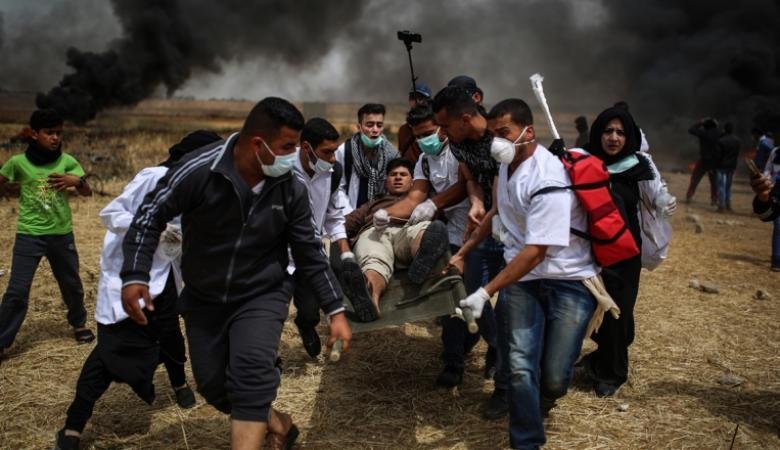 اصابات مع انطلاق مسيرات العودة على حدود غزة