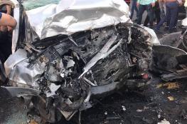 مصرع مواطنة واصابة 7 آخرين في حادث سير جنوب نابلس