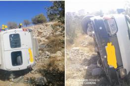 اصابة 11 طفلاً في حادث انقلاب حافلة روضة شرق بيت لحم