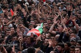 نابلس : تشييع جثمان الشهيد حمايل بموكب مهيب