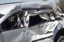 اصابة 4 شبان  اثنان منهم بحالة الخطر بحادث سير مروع جنوب جنين
