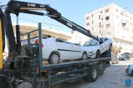 الشرطة تتلف 100 مركبة غير قانونية  في الخليل