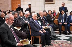 الرئيس محمود عباس اثناء حضوره قداس منتصف الليل في كنيسة المهد ببيت لحم