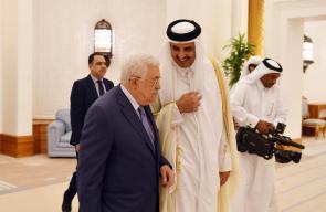 الدوحة - الرئيس محمود عباس، اثناء لقاء امير دولة قطر الشيخ تميم بن ال ثاني