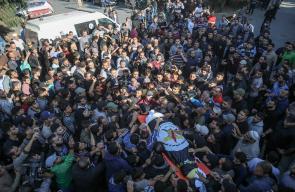 تشييع جثمان الشهيد بهاء أبو العطا وزوجته في مدينة غزة