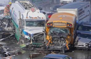 70 اصابة في حادث تصادم جماعي في كندا