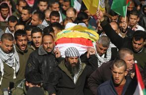 جانب من جنازات الشهداء السبع الذين سلمهم الاحتلال يوم امس