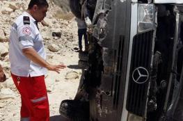 13 اصابة في حادث اتقلاب حافلة بطوباس