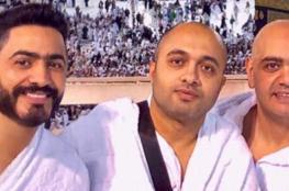 تامر حسني يؤدي العمرة بعد اقامة حفل غنائي في السعودية