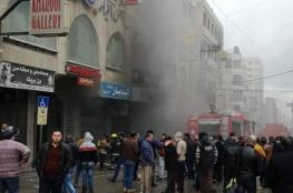 اندلاع حريق في مبنى وسط نابلس