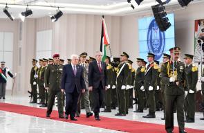 الرئيس محمود عباس اثناء لقاء الرئيس النمساوي ألكسندر فان دير بيلين في رام الله