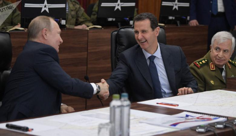 """الأسد لبوتين : """"ترامب مرحب به في دمشق """""""