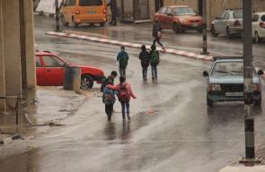 الامطار في بلدة بيت فوريك شرق نابلس