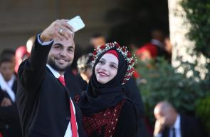 حفل زفاف جماعي ضم 500 عريس وعروس اقيم في رام الله تحت رعاية الرئيس