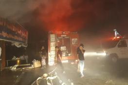 اخماد حريق اشتعل بمحل تجاري في جنين