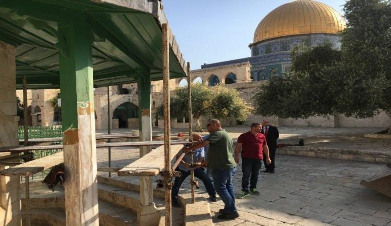 الاحتلال يوقف أعمال الترميم في منطقة باب الرحمة شرق المسجد الاقصى