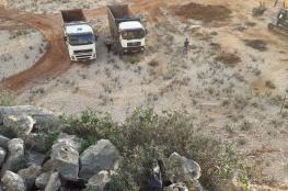المستوطنون يجرفون اراض جنوب شرق قلقيلية