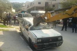 الشرطة تتلف 191 مركبة غير قانونية جنوب نابلس