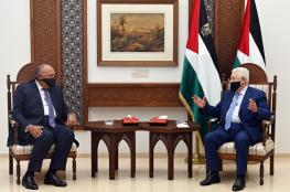 تفاصيل اجتماع الرئيس عباس بوزير الخارجية المصري